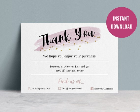 business thank you for your purchase cards editable  etsy