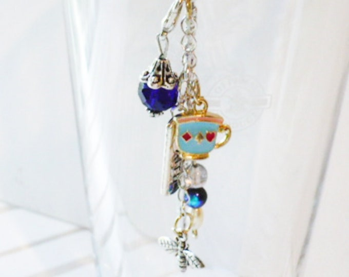 Flower Metal Bookmark Faith Inspirational Charm Blue Beads, Teacup and Bee Dangle. Book Lover or Planner Charm Page Marker Gift for Women.