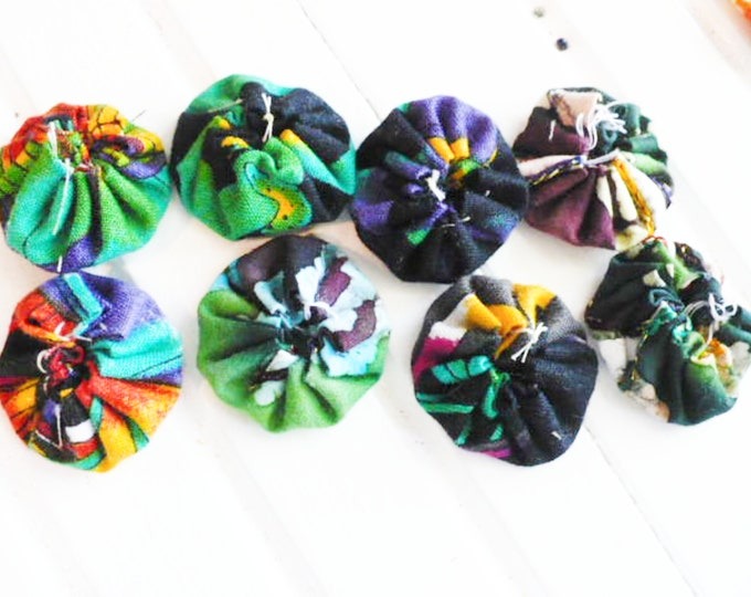 Fabric YoYo Assortment Green and Blue Embellishments For Craft and Sewing Projects Gift For Mom.