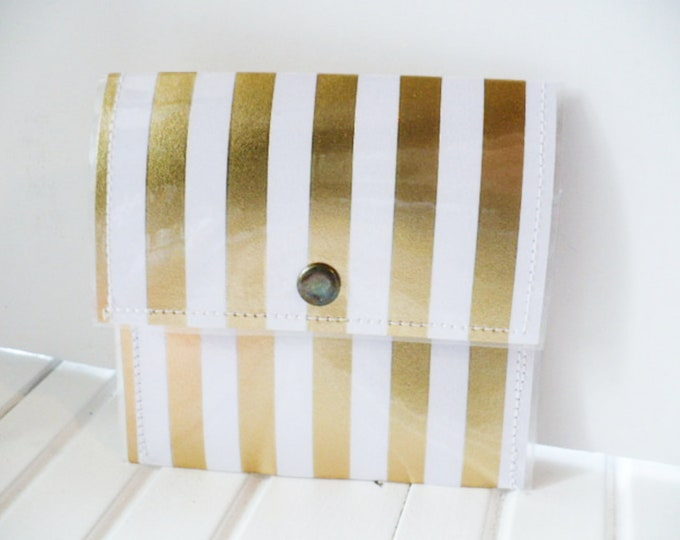 Credit Card Holder Women, Mini Wallet, Plastic Pouch, Gold and White Stripped Pattern, Cute and Fun Boho Minimalist Gift