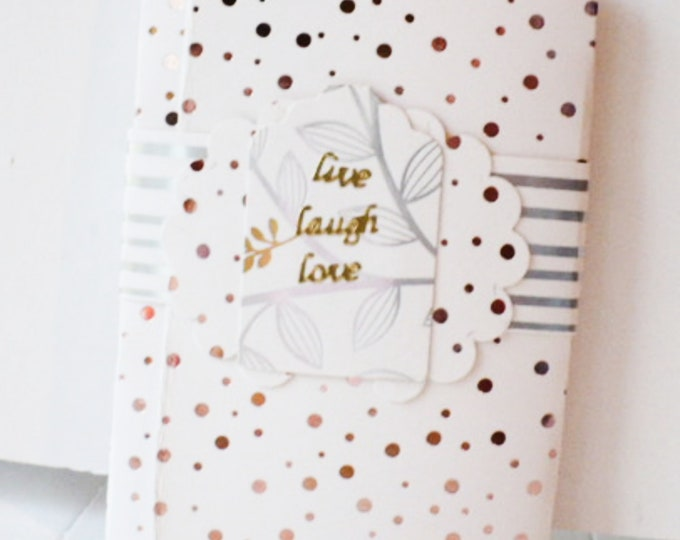 Live Laugh Love Mini Notepad Scripture Journal Gift for Sister. Metallic Writing Notebook Grateful Gratitude Tracker Gift for Friend.