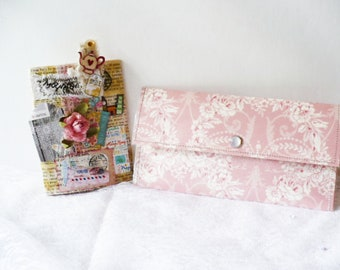 Wanderlust Gratitude Journal, Pink Floral Wallet for Women, Teapot Paperclip Bookmark, Care Package, Gift Set