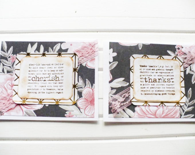 Tropical and Floral Note Cards With Words of Thanks and Cherish Gift for Friend.  Handmade Greeting Cards Set of Two.