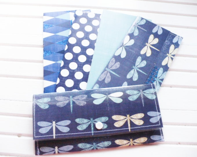 Dragonfly Wallet Women for Cash Envelope System Savings or Budgeting. Money Currency Holder Clutch Purse Baptism Sister Gift or Graduation