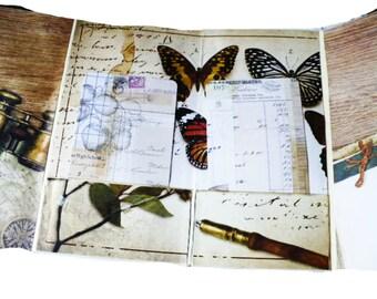 Travelers Notebook Insert, Junk Journal Handmade, Folder With Pockets, Ephemera Storage, Graduation Gift for Daughter