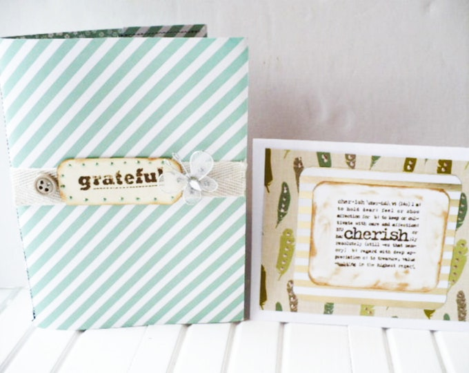 Gratitude Journal and Cherish Note Card Set Gift for Friend. Handmade Notepad and Greeting Card Thinking of You Gift for Staying In Touch.