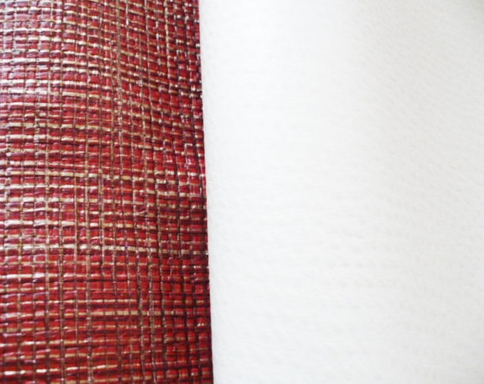 Junk Journal Cover Textured Cloth Wallpaper Faux Leather. Bookbinding Cloth Rustic Red and Faux Ostrich White Gift For Creatives.