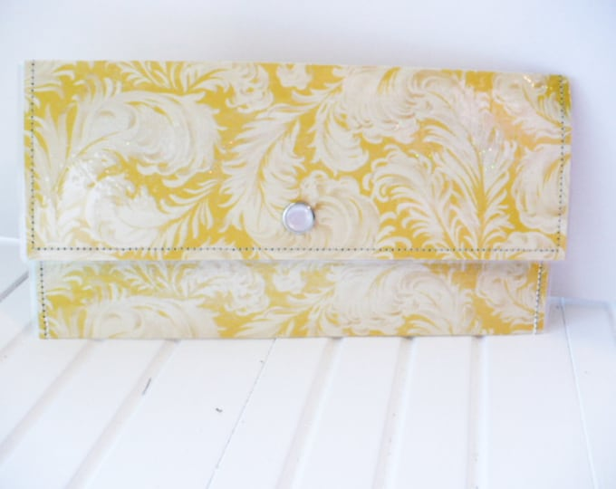 Yellow Feather Large Wallet Womens for Travel or Cash Envelope System.  Envelope Clutch Money Gift for Wedding or Graduation