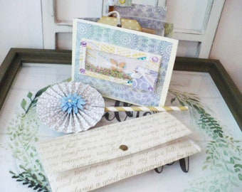 Butterfly Thank You Card Gift Set. With Tea Wallet and Flower Straw for Friendship or Get Well