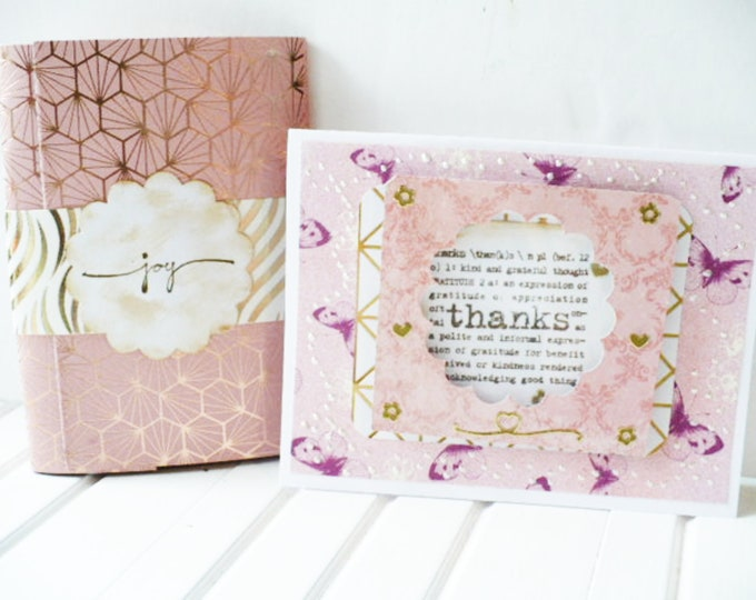 Journal and Thank You Card Set with Inspirational Quotes Gift for Mom. Joy Notepad and Greeting Card with Shaker Window Gift for Friend.