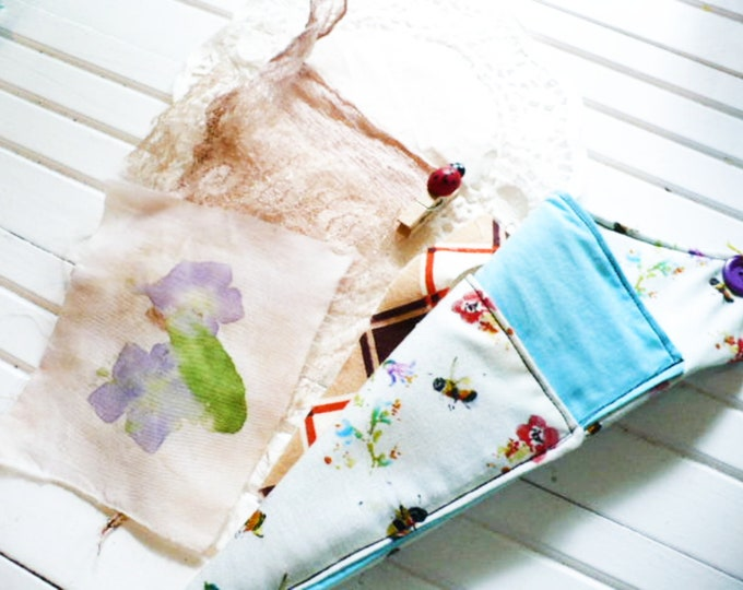 August Embellishments Kit Eco Print Natural Dyed For Junk Journals, Fabric Crafts, Mixed Media Or Cards Add On Tool Caddy Gift for Women.