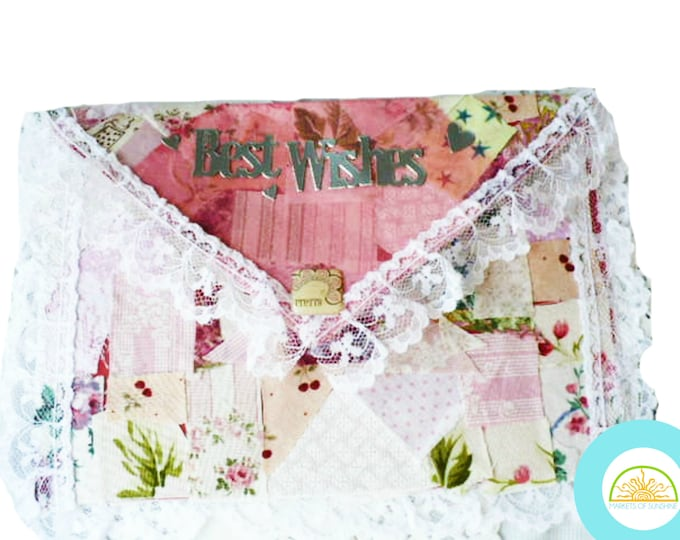 Cash Envelopes, Gift Card Envelope, Best Wishes, Wedding, Keepsake Pouch, Shabby Chic, Crazy Quilt