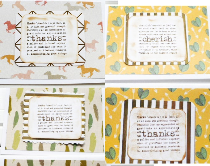 Southwestern Note Cards Assorted Patterns With Sentiment Words Gift for Friend.  Handmade Greeting Cards Thanks and Cherish All Occasion.