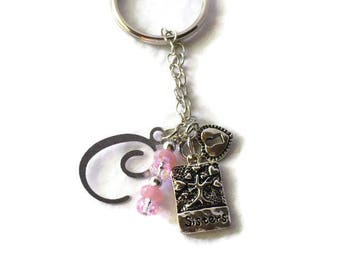 Sisters KeyChain Personalized Gift, Monogram Key Chain, Sister Charm, Gift For Sister, Bookworm, Free Shipping, MarketsofSunshine
