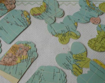 Map Confetti Table Decor, Map Luggage Tags, Map Butterfly Table Scatter, Party Decor, MarketsofSunshine