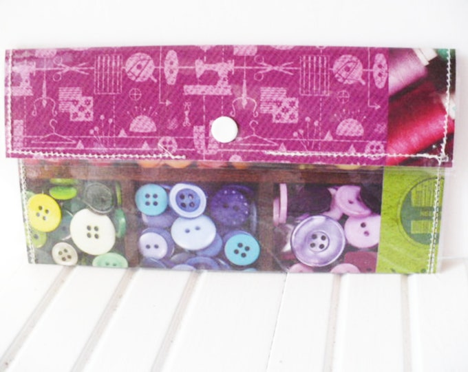 Novelty Wallet Women Savings for Craft or Sewing Supplies. Slim Clutch Pouch with Buttons Pattern for Cash or Coupons Friend Gift.