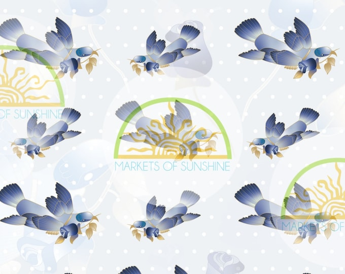 Bluebird Scrapbook Paper for Collage and Junk Journal Pages.  Digital Artwork Sheet for Card Making or Gift Tags.