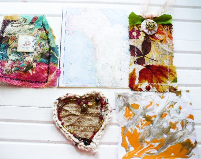 Bohemian Junk Journal Embellishments Gifts for Creative Women. 5 Handmade Collection for Scrapbooking, Art Journal, Planner Pages