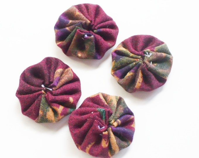 Fabric Yoyos Burgundy Red Wine Craft Set of 12 Sewing Embellishments Handmade Gift For Her. 1 Inch
