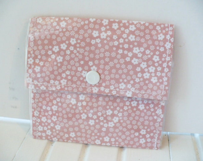 Pink Floral Mini Wallet for Women, Small Coin Purse, Credit Card Holder, Minimalist Pouch, Snap Closure Plastic Finish 4 x 4 Inches