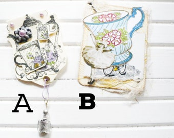 Teapot or Teacup Bookmark Altered Paper Clip Gift for Friend.  Junk Journal Embellishments Hidden Paper Clip Gift For Reader Book Lovers.