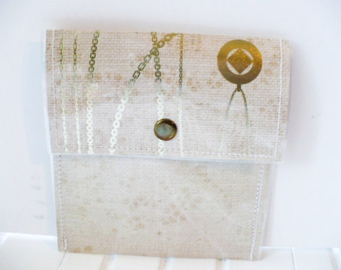 Mini Wallet for Women with Beige and Metallic Jewelry Design.  Minimalist Money or Credit Card Holder for Graduation or Anniversary Gift