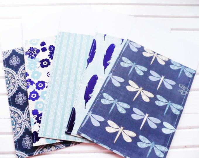 A5 Envelopes for Binders or Money Gift for Teacher.  Blue Planner Envelopes for Cash Envelope Budgeting System Graduation Gift. Set of 5