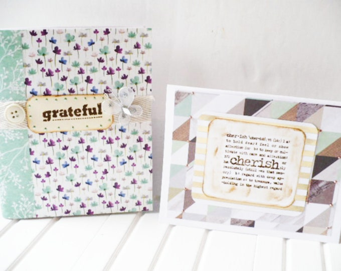 Handmade Journal and Note Card Set with Grateful and Cherish Inspirational Quotes Friendship Gift.  Gratitude Notepad and Greeting Card