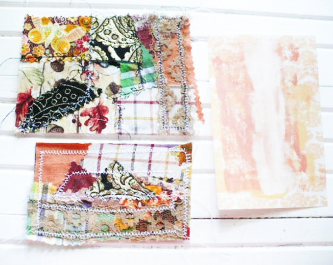 Bohemian Embellishments Set of Three Journal Cards or Pocket Tucks Fabric and Card Stock With Decorative Stitches. Cozy Season Collection