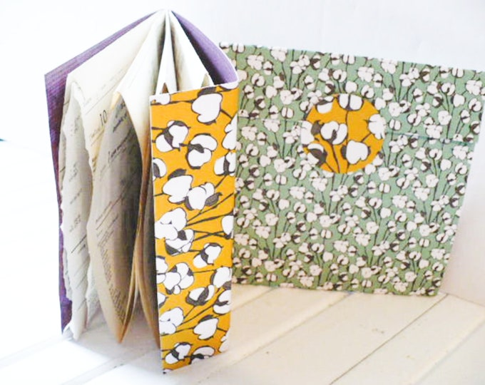 Ephemera Holder Storage Booklet Folder for Junk Journal Embellishments or Scrap Fabric and Paper Pieces.  Handmade Folio Kit Gift for Women.