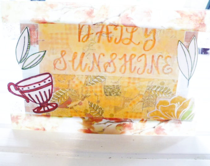 Teacup Postcard Flower Daily Sunshine Design 4 x 6 Inches. Pen Pal Gift for Women. Clear Acrylic. Ready To Ship