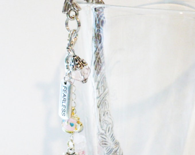 Hummingbird Metal Bookmark Silver Fearless Charm Beads, Teacup, Butterfly Dangle. Book Lover Planner Charm Page Marker Gift for Women.