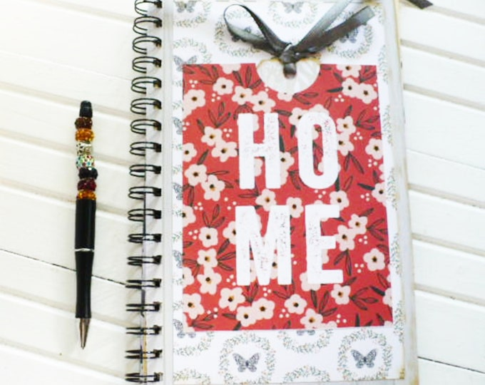 Blank Journal and Beaded Pen Set Home Theme Red and White Pocket and Tag Housewarming Gift for Friend.  Cozy Season Collection.
