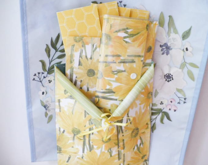 Sunflower Travel Wallet Women, Includes One Wallet 3.25 x 7 inches, Two Cash Envelopes, One Notepad, One Pouch, Organizer Gift Set