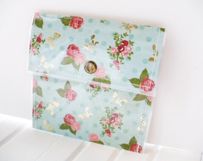 Mini Wallet for Women Blue with Pink Roses and Metallic Leaves.  Minimalist Money or Credit Card Holder for Graduation or Anniversary Gift