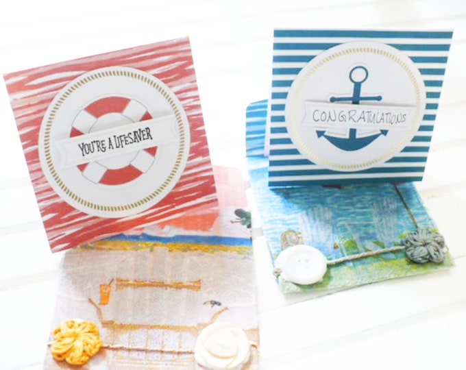 Nautical Note Card and Envelope Bookmarks Set of Two Gift For Friend or Reader.