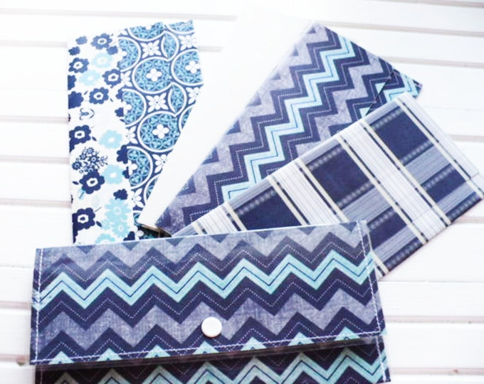 Blue Chevron Women Wallet for Cash Envelope System Budgeting and Savings.  Geometric Clutch Purse Money Gift for Teacher or Students
