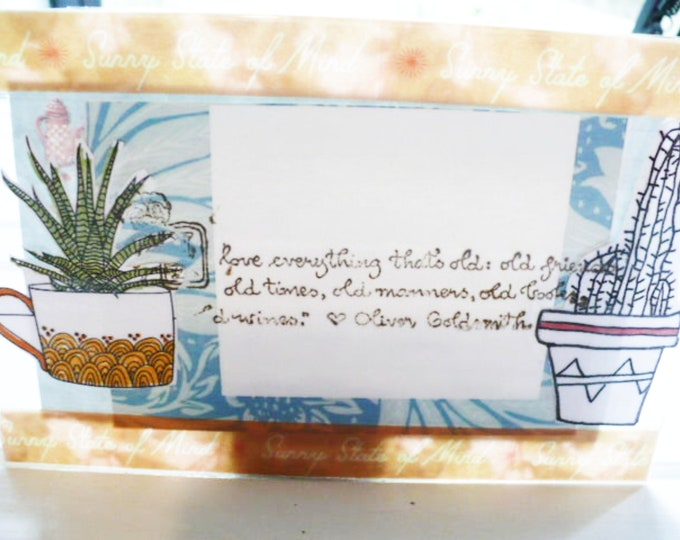 Succulent Postcard Teacup Design 4 x 6 Inches. Pen Pal Gift for Friend. Clear Acrylic. Ready To Ship