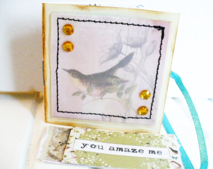 Bird Mini Journal Bookmark and Tag Writing Gift for Women.  Small Notepad Hidden Altered Paper Clip Happy Mail or Party Favors Gifts.