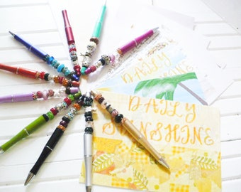 September Embellishments Kit Club Postcard Set and Beaded Writing Pen for Your Creative Daily Sunshine Prompts Gift For Pen Pal Friend.