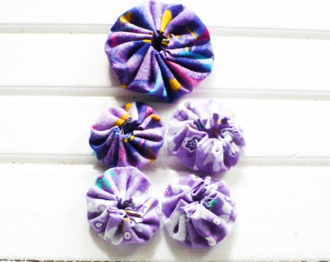 Fabric YoYo Purple Floral Embellishments For Craft and Sewing Projects Handmade Gift For Friend. Set of 5