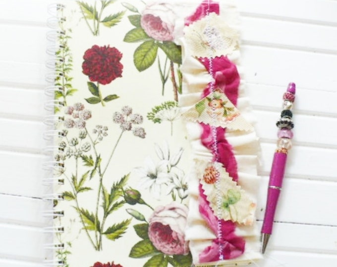 Spiral Notebook With Beaded Pen For Personal Study Journal Handmade With A Floral Shabby Chic Cover.  Measures 6 x 9 Inches, Ready to Ship.