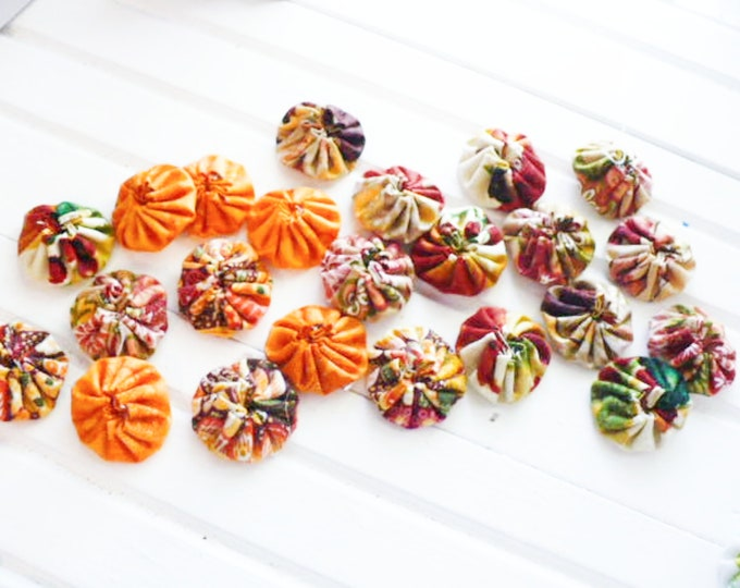 Fabric YoYo Assortment Orange Craft and Sewing Embellishments Handmade Gift For Her