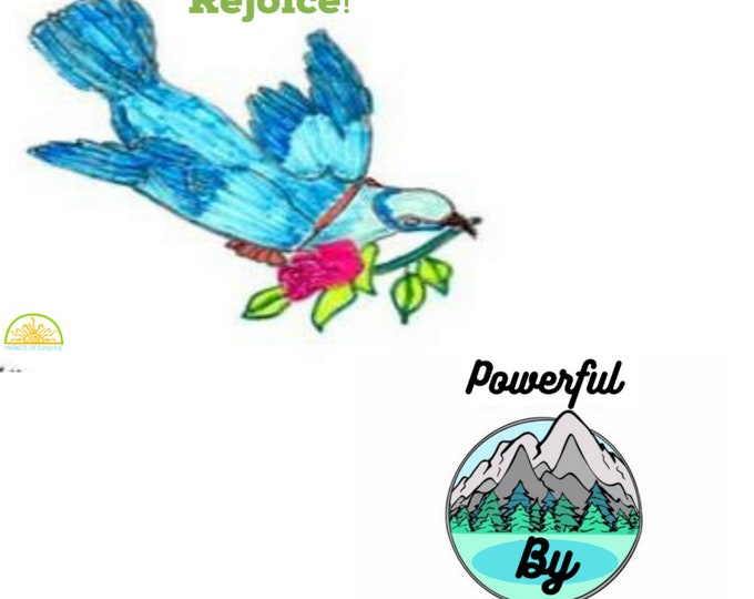 Inspirational Postcards Daily Gratitude Bluebird and Powerful By Faith Digital Download Printable Set of Two