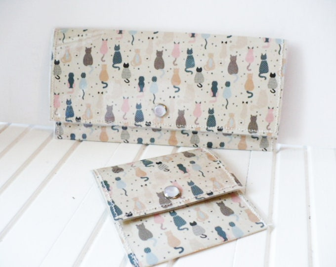 Large Cat Wallet For Women and Cat Coin Purse Credit Card Holder. Passport Holder or Coupon Case for Cash Envelope Budget System.