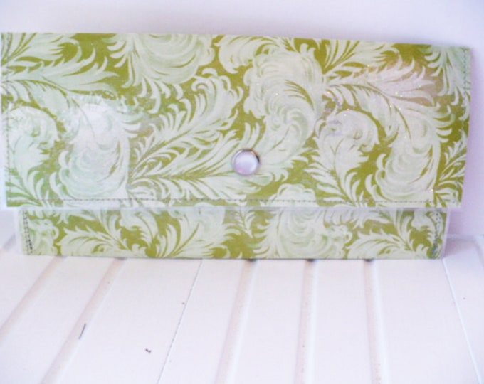 Green Feather Wallet Womens for Travel or Cash Envelope System.  Large Clutch Purse with Plastic Cover for Money Gift Wedding or Graduation