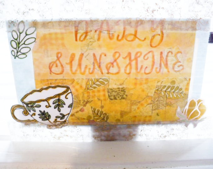 Daily Sunshine Postcard Teacup and Flower and Leaf Design 4 x 6 Inches. Pen Pal Gift, Think of You. Clear Acrylic. Ready To Ship