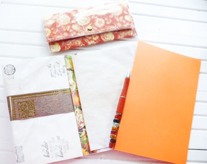 Stationery Set With Pen Orange Paper and Matching Floral Wallet Gift For Women Keeping In Touch.