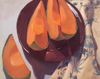 "Art painting fruit still life ""Cozy Cantaloupe"" original oil by Sarah Sedwick 12x12"""