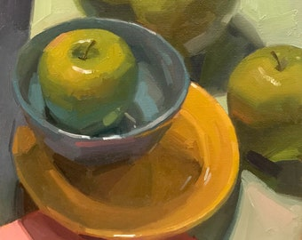 """Art painting green apple still life by Sarah Sedwick """"Inner Circle"""" 8x8 oil on canvas"""